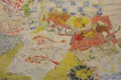 Georges Adilon, Nature morte aux rougets, Huile sur toile, 95 cm x 130 cm