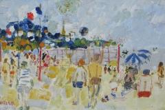 Fusaro, Personnages sur la plage, Huile sur contreplaqué, 32,5 cm x 50 cm