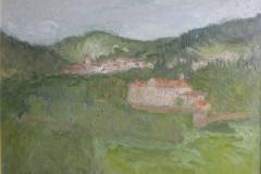Eric Gouttard,Vanosc, village de l'Ardèche, Huile sur aggloméré, 50 cm x 65 cm, 2006