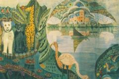 Albert Januarius di Decarli, Le paradis terrestre, Peinture à la cire sur carton, 222 cm x 502 cm, 1964