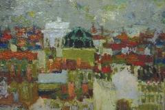Henri Lachièze-Rey, Toits de Lyon, Huile sur carton marouflé sur bois, 60 x 73 cm, 1956