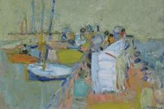 Jacques Truphémus, Le port de Nernier, Huile sur toile, 37 cm x 54 cm, 1958
