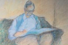 Maurice Bonnet, Jacques Truphémus en train de dessiner, Pastel, 43,5 cm x 58 cm, 1987