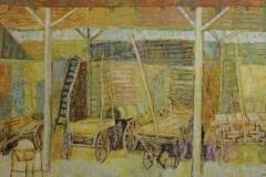 Bernard Gantner, Grange en été, Huile sur toile, 94 cm x 160 cm, 1956